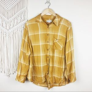 Ava & Viv • Mustard Yellow Plaid Flannel